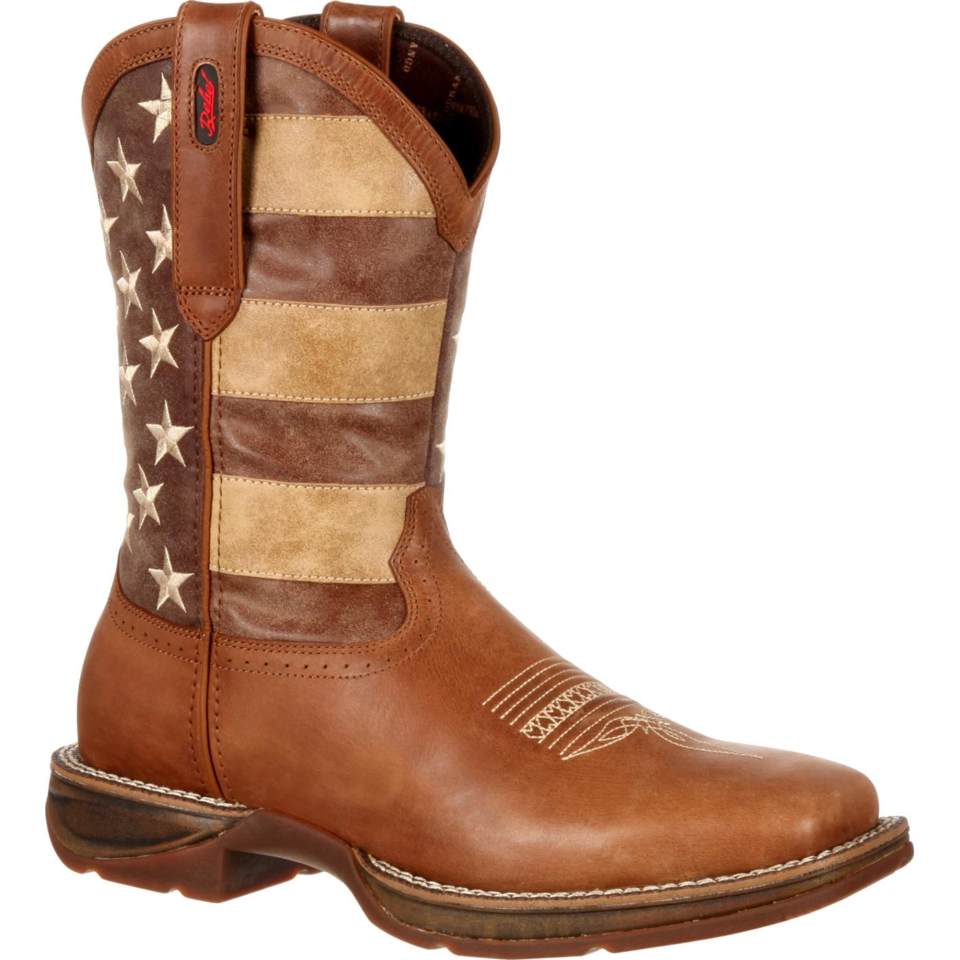 durango mens rebel faded flag western boot brown and faded