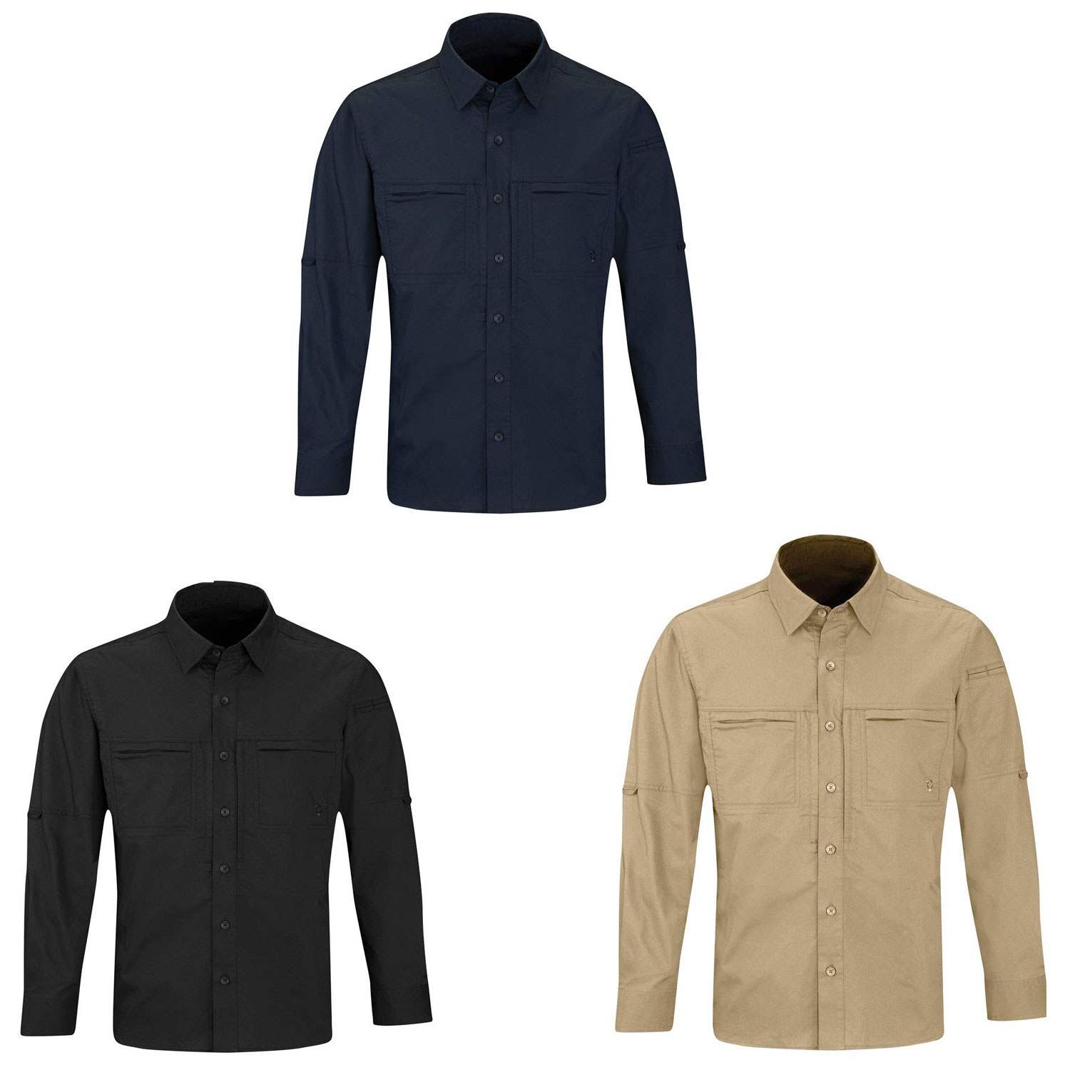 Propper Mens HLX Shirt Long Sleeve Water-repellent Tactical Military Army Black