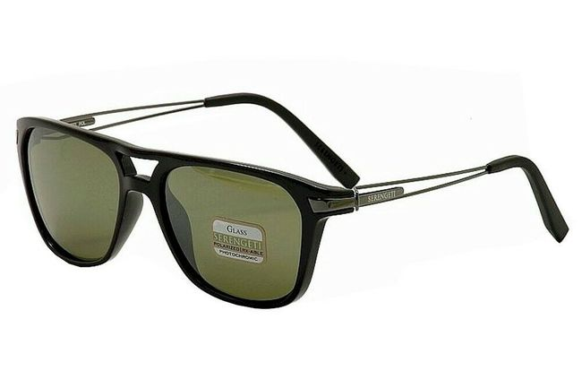 fcbf03a8c41 Serengeti 555nm Empoli Sunglasses Shiny Black and Polarized Green Finish  7762